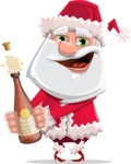 Santa Claus Cartoon Flat Vector Character - Celebrating With Champagne