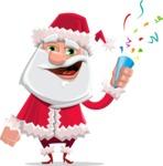 Santa Claus Cartoon Flat Vector Character - Celebrating with Confetti