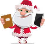 Santa Claus Cartoon Flat Vector Character - Choosing Between a Book and a Modern Tablet Reading