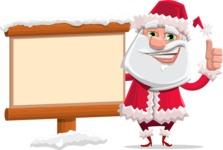 Santa Claus Cartoon Flat Vector Character - Choosing the Way in Snow