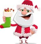 Santa Claus Cartoon Flat Vector Character - With Christmas Sock