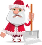 Santa Claus Cartoon Flat Vector Character - Cleaning the Snow