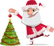 Santa Claus Cartoon Flat Vector Character - Decorating Christmas Tree