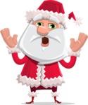 Santa Claus Cartoon Flat Vector Character - Feeling Shocked
