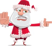 Santa Claus Cartoon Flat Vector Character - Finger Pointing with Angry Face