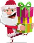 Santa Claus Cartoon Flat Vector Character - Giving Christmas Presents