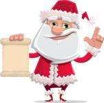 Santa Claus Cartoon Flat Vector Character - Holding a Blank Scroll