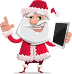 Santa Claus Cartoon Flat Vector Character - Holding a New Tablet