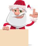 Santa Claus Cartoon Flat Vector Character - Holding Blank Presentation Sign