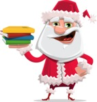 Santa Claus Cartoon Flat Vector Character - Holding Books