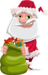 Santa Claus Cartoon Flat Vector Character - Holding Christmas Sack with Gifts