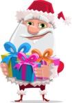 Santa Claus Cartoon Flat Vector Character - Holding Presents