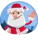 Santa Claus Cartoon Flat Vector Character - In a Christmas Badge Template