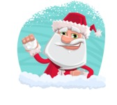 Santa Claus Cartoon Flat Vector Character - In a Cristmas Sticker Template
