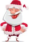 Santa Claus Cartoon Flat Vector Character - Making a Funny Face