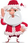 Santa Claus Cartoon Flat Vector Character - Making a Selfie