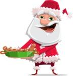 Santa Claus Cartoon Flat Vector Character - Making Cookies for Christmas