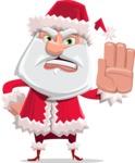 Santa Claus Cartoon Flat Vector Character - Making Stop Sign