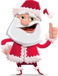 Santa Claus Cartoon Flat Vector Character - Making Thumbs Up