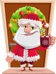 Santa Claus Cartoon Flat Vector Character - On a House Door Illustration