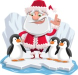 Santa Claus Cartoon Flat Vector Character - On an Iceberg with Penguins