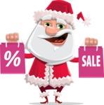 Santa Claus Cartoon Flat Vector Character - On Christmas Sale