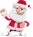 Santa Claus Cartoon Flat Vector Character - Playing with Snowballs