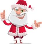 Santa Claus Cartoon Flat Vector Character - Pointing and Making Thumbs Up