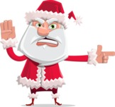 Santa Claus Cartoon Flat Vector Character - Pointing with a Finger