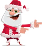 Santa Claus Cartoon Flat Vector Character - Pointing with Hands