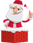 Santa Claus Cartoon Flat Vector Character - Popping out of a Chimney