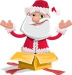 Santa Claus Cartoon Flat Vector Character - popping out of a Christmas Box