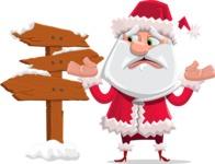 Santa Claus Cartoon Flat Vector Character - Making a Presentation on a Christmas Board