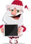 Santa Claus Cartoon Flat Vector Character - Presenting a Tablet