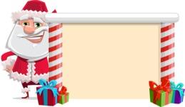 Santa Claus Cartoon Flat Vector Character - Presenting on a Blank Christmas Whiteboard
