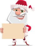 Santa Claus Cartoon Flat Vector Character - Presenting on a Blank Sign Template