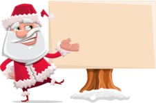 Santa Claus Cartoon Flat Vector Character - Presenting on a Blank Whiteboard for Christmas