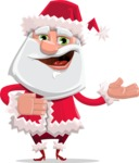 Santa Claus Cartoon Flat Vector Character - Presenting with Both Hands