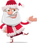 Santa Claus Cartoon Flat Vector Character - Presenting