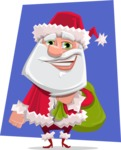 Santa Claus Cartoon Flat Vector Character - With Flat Background Illustration