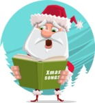 Santa Claus Cartoon Flat Vector Character - With Beautiful Snow Background Concept