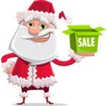 Santa Claus Cartoon Flat Vector Character - Shopping for Gifts