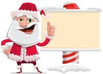 Santa Claus Cartoon Flat Vector Character - Showing a Blank Christmas Sign