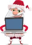 Santa Claus Cartoon Flat Vector Character - Showing a Laptop