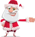 Santa Claus Cartoon Flat Vector Character - Showing with a Hand