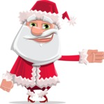 Santa Claus Cartoon Flat Vector Character - Showing witha Smile