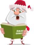 Santa Claus Cartoon Flat Vector Character - Singing Christmas Songs