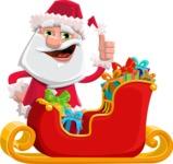 Santa Claus Cartoon Flat Vector Character - Christmas Sleigh