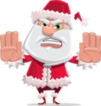 Santa Claus Cartoon Flat Vector Character - Stopping with Hands