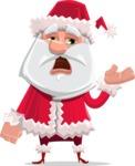 Santa Claus Cartoon Flat Vector Character - Tired and Yawning